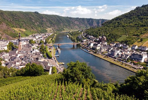 Aerial view at Cochem village at the Moselle riverbank in Germany