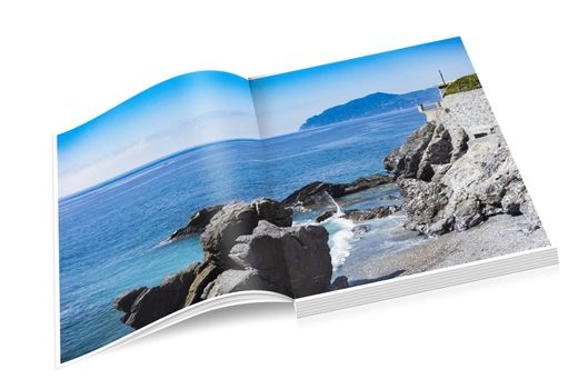 book of rocky coast of Nervi in Genoa in Liguria
