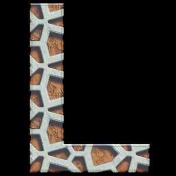 3D render of grate alphabet letter