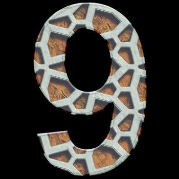 3D render of grate alphabet number