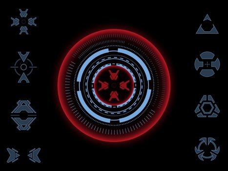 Collection of futuristic aiming crosshairs. For games and photo or video footage overlays. User interface HUD.