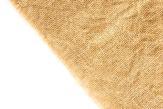 Closeup sackcloth with white background