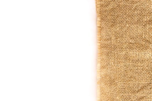 Closeup sackcloth with white background, coppy space