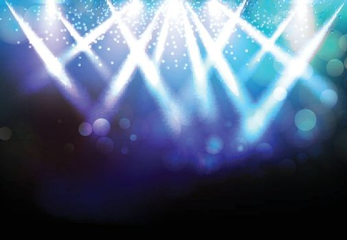 Magic Spotlights with Blue rays and glowing effect for party event, concert, advertising, Vector illustration