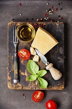 Fresh food ingredients for italian cuisine.
