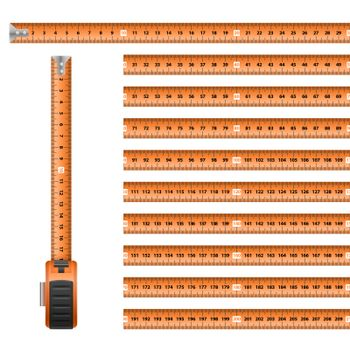 Measuring Graphic Design Orange Roulette Centimeter Scale on the White