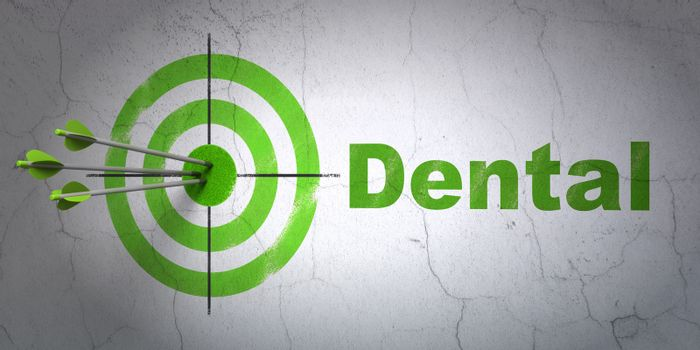Success Health concept: arrows hitting the center of target, Green Dental on wall background, 3D rendering