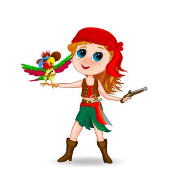 Girl in pirate costume with a parrot on his arm. The girl with the parrot on a white background.