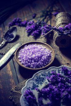 Heap of violet bath salt