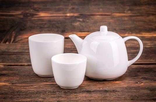 White porcelain tea set