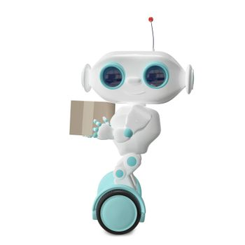 3d Illustration White Robot on Scooter with One Box