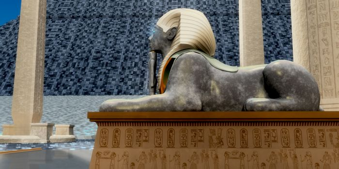 An Egyptian sphinx statue is one of the guardians to pharaoh's tomb in ancient Egypt.