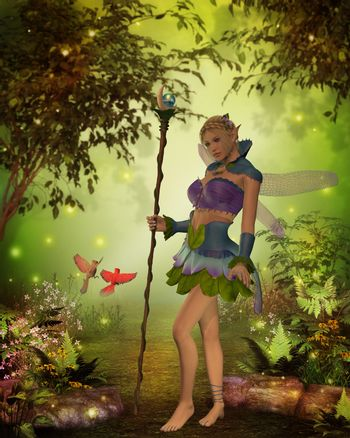 A male and female Cardinal bird try to get the attention of Fairy Katria in the magical forest.