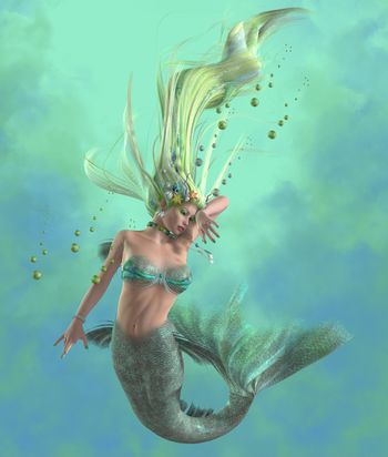 A mermaid is a mythical legendary creature composed of a beautiful woman with a fish tail.