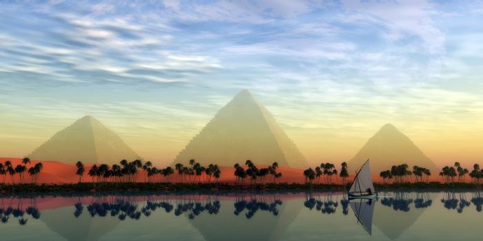 The Great Pyramids stand majestically over the Nile River running through the land of Egypt.