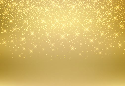 Gold glitter dust texture shining on golden background. Gold particles. Luxury design. Vector illustration. copy space