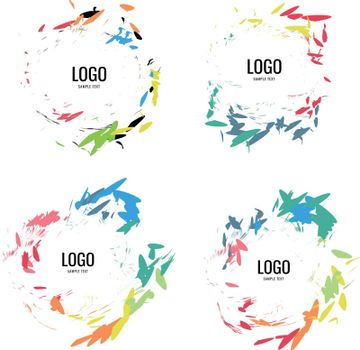 A series of circular logos in a natural style on a white background. Vector illustration