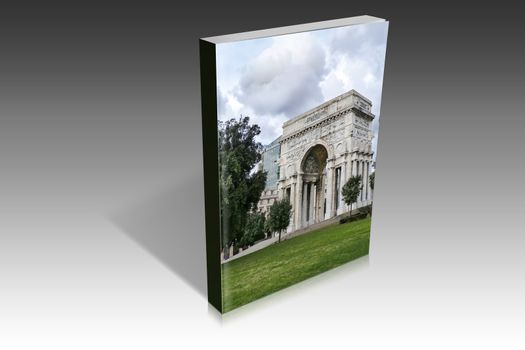 book illustration of the triumphal arch at Genova in the square of victory
