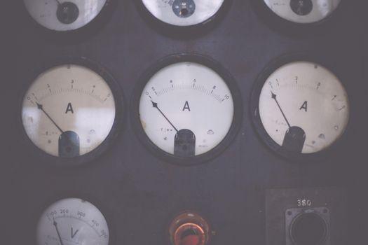 Part of panel ammeter voltmeter dial