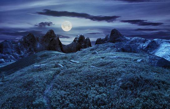 path through boulders on hillside at night