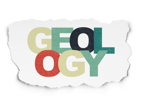 Science concept: Geology on Torn Paper background