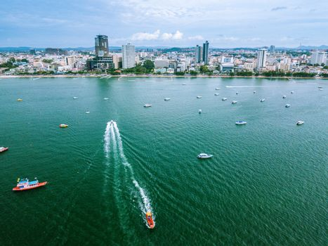 Pattaya cityscape aerial view from the sea