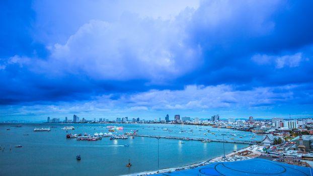 Pattaya cityscape view at twilight