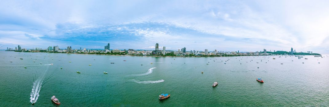 Pattaya cityscape panorama view from the sea