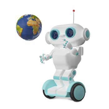 3d Illustration White Robot with Globe on Scooter