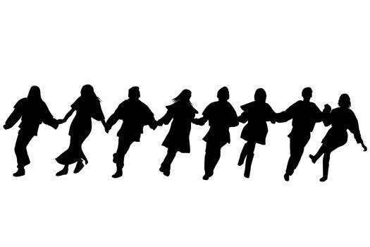 Balkan dancers silhouettes