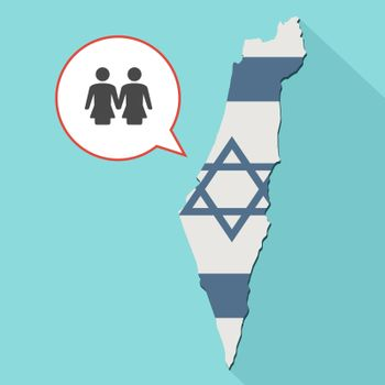 Animation of a long shadow Israel map with its flag and a comic balloon with a lesbian couple pictogram