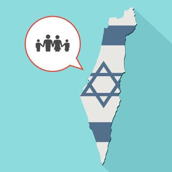 Animation of a long shadow Israel map with its flag and a comic balloon with a conventional family pictogram