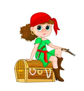 Girl in costume of a pirate sitting on a treasure chest.