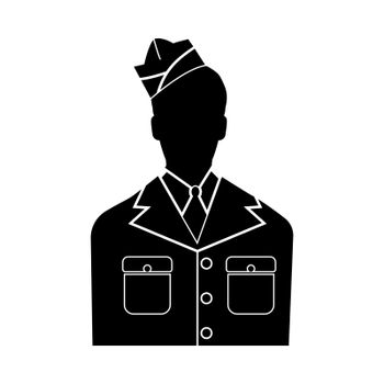 Veteran or soldier of the american army black icon .