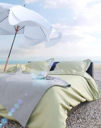 Beach lounge - bed with umbrella and seashell vacation and summer concept photo