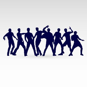 Set of Silhouette Dancing Males in Different Poses