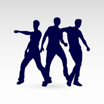 Set of Three Silhouette Dancing Males in Different Poses on the Dance Floor for Desgin Templates