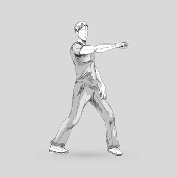 Modern Style Dancer Sketch of a Man Hip Hop Choreography on Gray