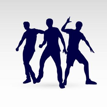 Set of Silhouette Dancing Man in Different Poses on the Dance Floor