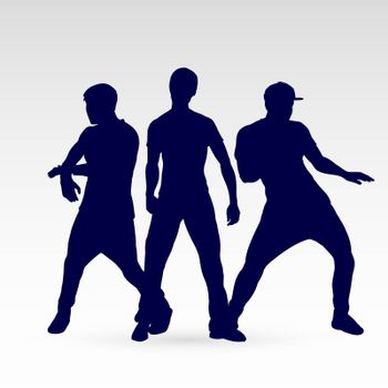 Set of Silhouette Dancing Males in Different Poses on the Dance Floor