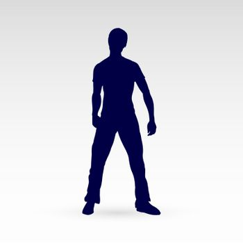 Modern Style Dancer Posing Silhouette of Man Isolated on Gray Background