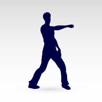Modern Style Dancer Silhouette of a Man Hip Hop Choreography on Gray