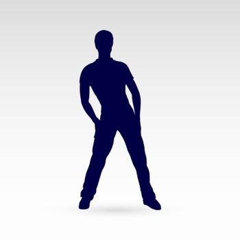 Modern Style Dancer Man Posing Silhouette on a Gray Background