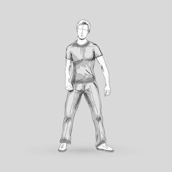 Modern Style Dancer Posing Sketch of Man Isolated on Gray Background