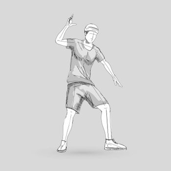 Sketch of a Modern Dancer Man Poses in Front of the Gray Background