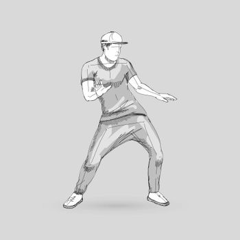 Modern Style Dancer Sketch of a Man Dancer Hip Hop Choreography on Gray