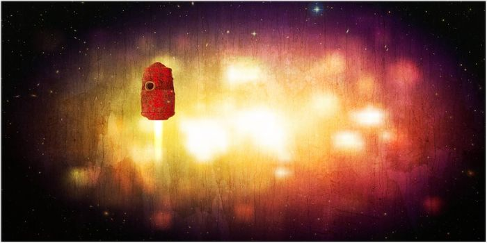 3d illustration of a space capsule in old grunge photo