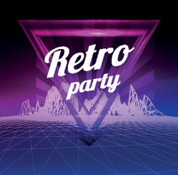 Retro party poster. 1980 style. Vector illustration on gradient backgound