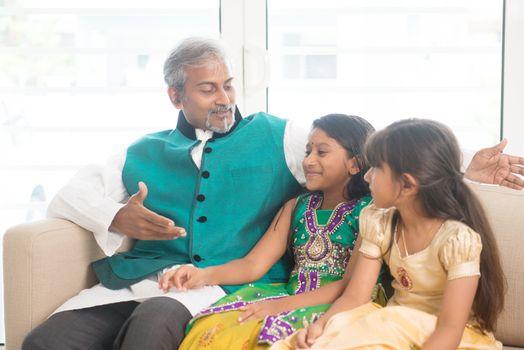 Happy Indian parent and children