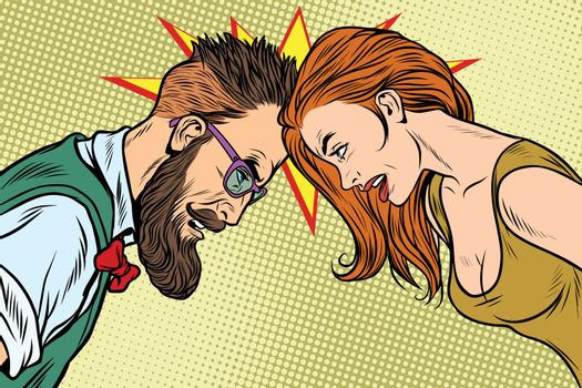 man vs woman, confrontation and competition